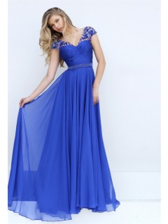 V Neck Cap Sleeve Open Back Long Royal Blue Chiffon Flowing Prom Dress