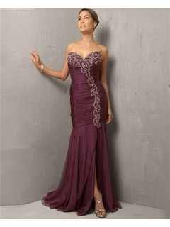 Vintage Mermaid/ Trumpet Sweetheart Long Purple Chiffon Beading Evening Dress With Slit