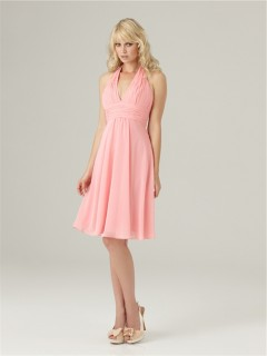 A line halter Low back short pink chiffon bridesmaid dress