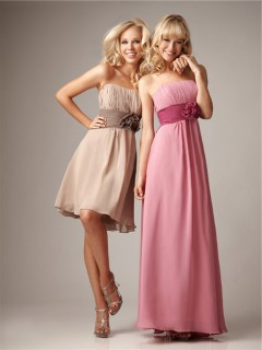 A Line Strapless Ruched Chiffon Bridesmaid Dress With Flowers Sash