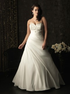 A line sweetheart sweep train corset back taffeta plus size wedding dress with beading