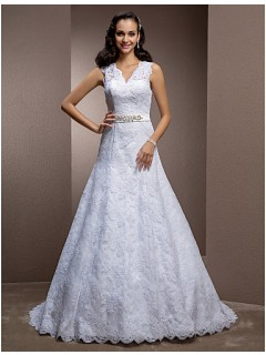 A Line V Neck Keyhole Back Lace Wedding Dress With Beaded Belt