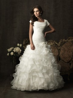 Ball Gown square neck organza ruffle modest wedding dress with sleeves