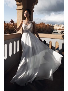 Boho Beach Wedding Dress Open Back White Chiffon Flowing With Pearls