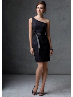 Column one shoulder short mini black lace party bridesmaid dress with sash
