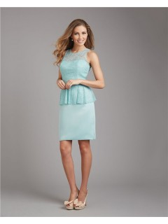 Column Scoop Neck Short Mint Green Satin Lace Peplum Wedding Guest Bridesmaid Dress