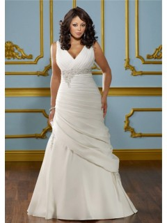 Fitted A Line V Neck Empire Waist Ruched Satin Plus Size Wedding Dress Corset Back