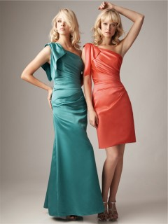Fitted one shoulder coral silk satin ruched bridesmaid dress with ruffle