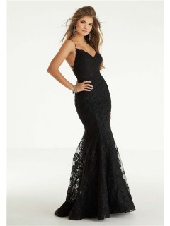 Glamour Mermaid Backless Spaghetti Strap Black Blue Lace Prom Dress