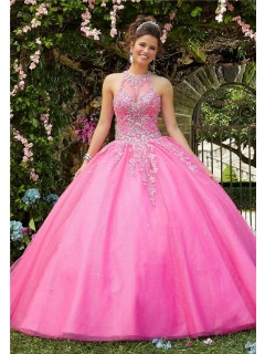 Lovely Ball Gown Prom Dress Hot Pink Tulle Lace Beaded Quinceanera Dress