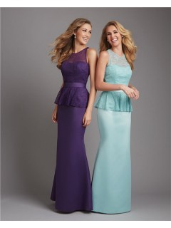 Mermaid Scoop Neck Long Mint Green Satin Lace Peplum Wedding Guest Bridesmaid Dress With Sash