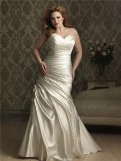 Mermaid sweetheart court train ivory silk satin plus size wedding dress with pleats and corset