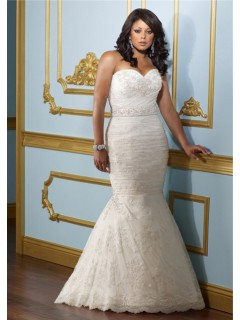 Mermaid Trumpet Sweetheart Corset Back Lace Ruched Plus Size Wedding Dress With Belt