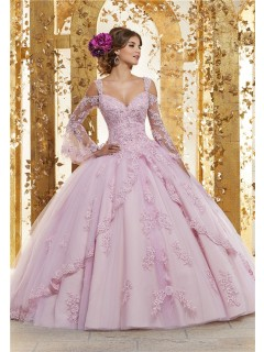 Quinceanera Dress Ball Gown Lilac Tulle Lace Beaded Prom Dress Long Sleeve Cold Shoulder