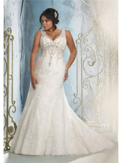 Sexy Mermaid V Neck Lace Beaded Plus Size Wedding Dress With Crystals