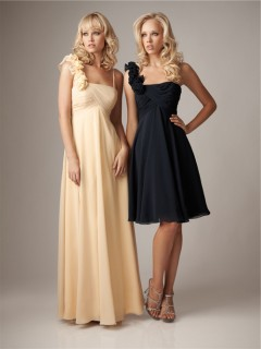 Sheath asymmetrical empire waist daffodil navy chiffon bridesmaid dress with straps