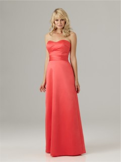 Sheath sweetheart floor length long coral satin ruched bridesmaid dress