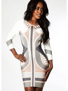 Short/mini white striped bandage bodycon dress with long sleeve