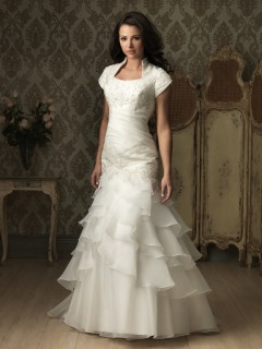 Trumpet  Mermaid cap sleeve organza ruffles wedding dress with collar