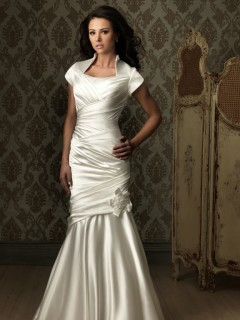 Trumpet Mermaid cap sleeve silk satin ruched modest wedding dress with collar