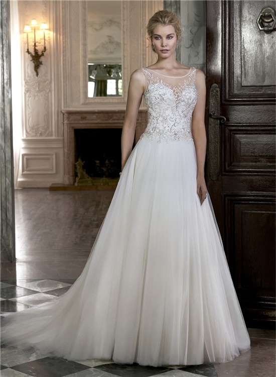 A Line Boat Illusion Neckline Sheer Back Sleeveless Tulle Beaded Wedding Dress