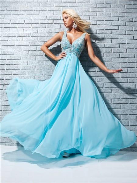 A Line Princess Straps V Neck Long Aqua Blue Chiffon Prom Dress With Beading