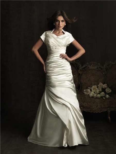 A line high neck court train silk satin wedding dress with short sleeves
