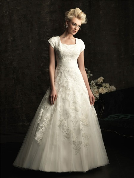 A line square chapel train modest lace wedding dress with short sleeves