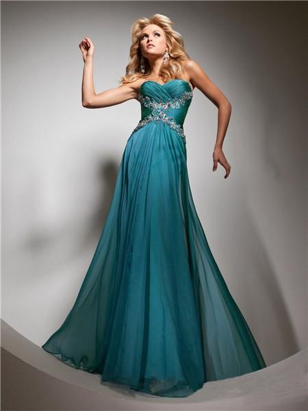 Cute A Line Princess Sweetheart Long Teal Chiffon Prom Dress With Beading