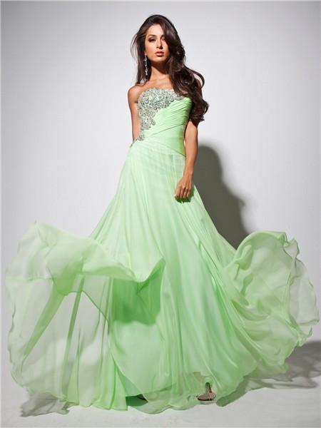 Elegant Strapless Long Light Green Chiffon Prom Dress With Beading