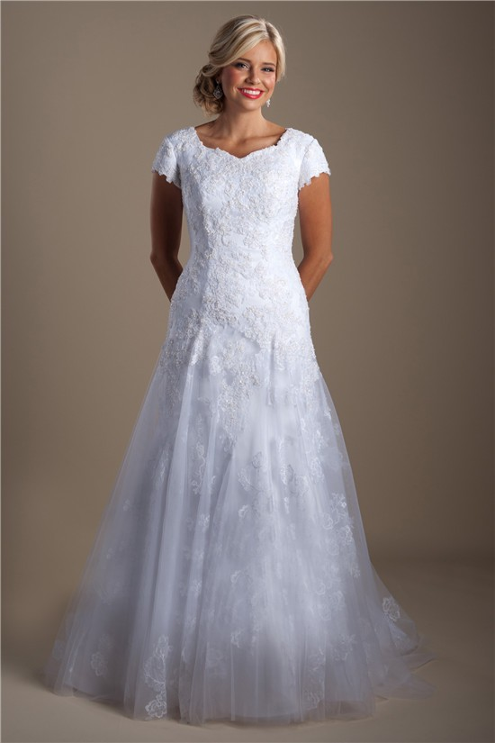 Fitted A Line Cap Sleeve Tulle Lace Modest Wedding Dress Court Train