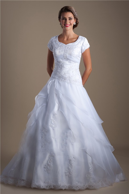 Modest A Line Cap Sleeve Organza Ruffle Lace Beaded Corset Wedding Dress