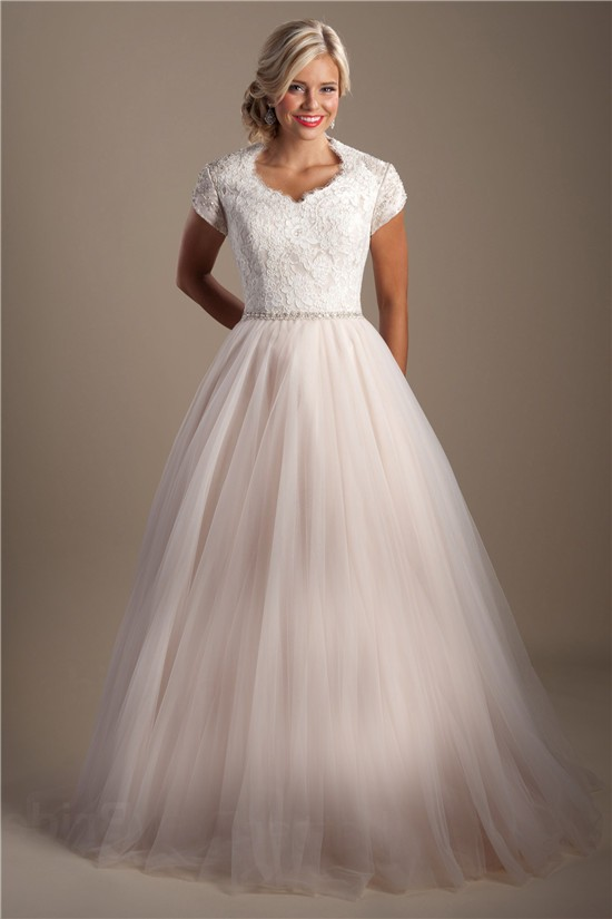 Modest A Line Queen Anne Neckline Tulle Lace Wedding Dress With Sleeves