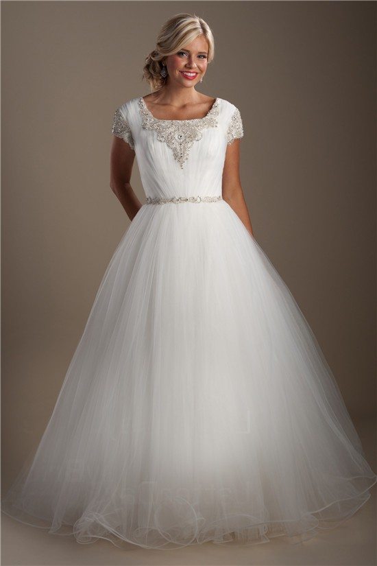 Modest Ball Gown Square Neck Cap Sleeve Tulle Beaded Crystal Wedding Dress