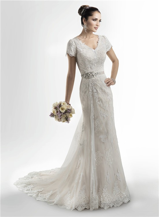 Modest Mermaid V Neck High Back Lace Wedding Dress With Short Sleeves Crystals Sash