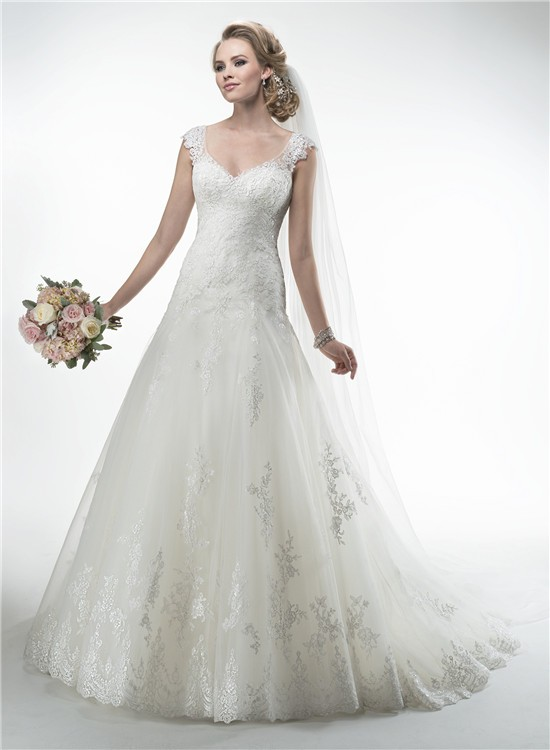 Princess A Line V Neck Sheer Back Cap Sleeve Lace Wedding Dress