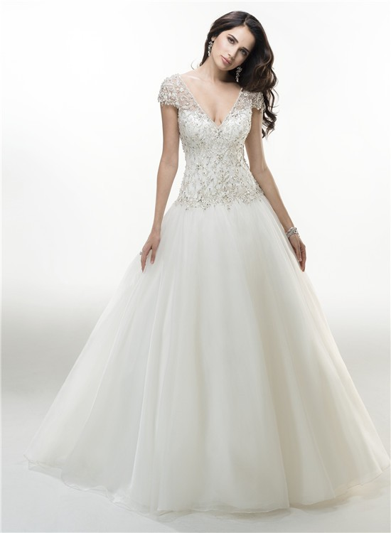 Sexy Ball Gown V Neck Cap Sleeve Organza Beaded Wedding Dress