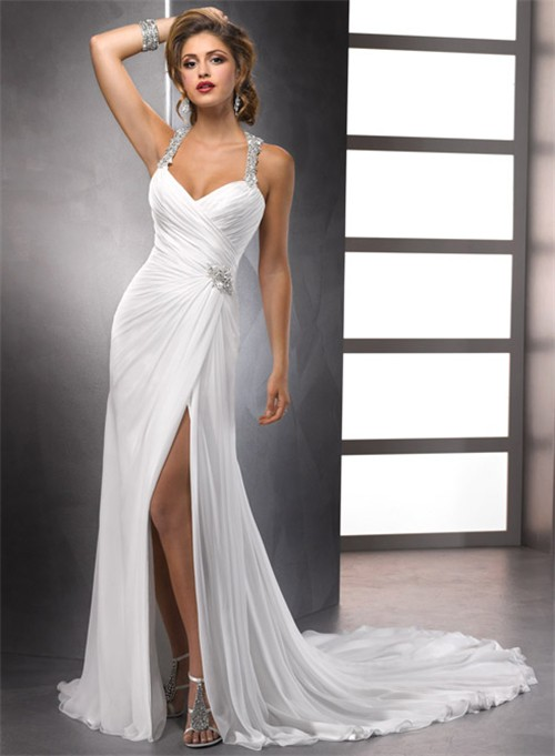 Sexy Sheath Straps Beaded Crystals Chiffon Summer Wedding Dresses With Slit