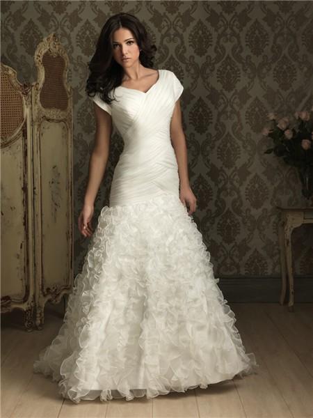 Trumpet/ Mermaid cap sleeve organza wedding dress with ruffles
