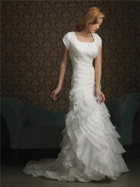 Trumpet/ Mermaid square sweep train cap sleeve ruffles wedding dress
