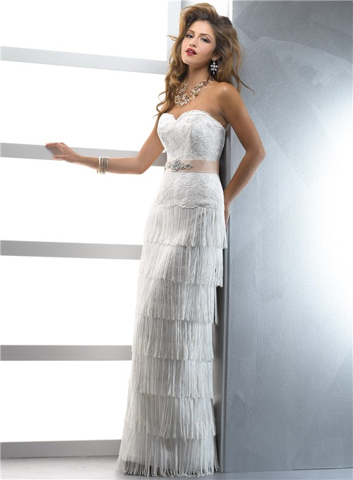 Unique Couture Sheath Sweetheart Lace Fringe Wedding Dress With Crystal Belt Slit