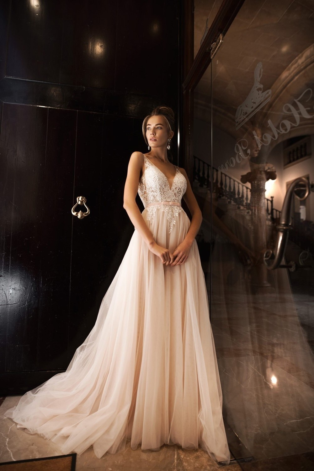 A Line Wedding Dress Tulle Lace V Neck With Bow Belt