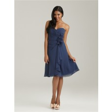 A line sweetheart knee length short navy blue chiffon bridesmaid dress with flowers and ruffles