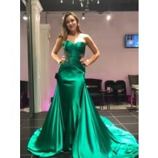 Custom Made Charmeuse Silk Dress With Long Train