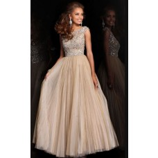 A Line Bateau Neck Cap Sleeve Long Champagne Pleated Tulle Beading Prom Dress V Back