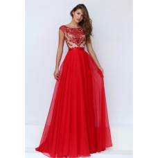A Line Bateau Neck Cap Sleeve Open Back Long Red Chiffon Beaded Prom Dress