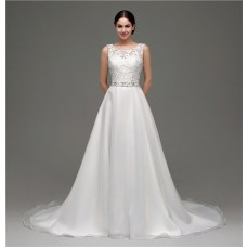 A Line Bateau Neck Low Back Organza Lace Wedding Dress With Belt