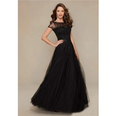 A Line Boat Neck Long Black Tulle Beaded Evening Prom Dress With Sleeves