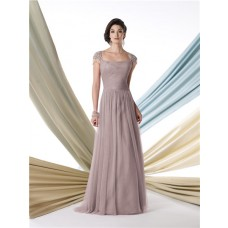 A Line Cap Sleeve Coffee Tulle Mother Of The Bride Formal Evening Dress