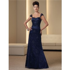 A Line Cap Sleeve Navy Blue Satin Chiffon Beaded Mother Of The Bride Evening Dress